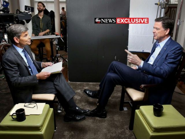 PHOTO: ABC News Chief Anchor George Stephanopoulos sits down with former FBI director James Comey for an exclusive interview that will air during a primetime 20/20 special on Sunday, April 15, 2018 on the ABC Television Network.