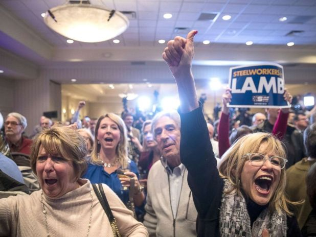 PHOTO: Supporters cheer as they watch election returns at an election night event for Conor Lamb, Democratic congressional candidate for Pennsylvanias 18th district, March 13, 2018 in Canonsburg, Pennsylvania.