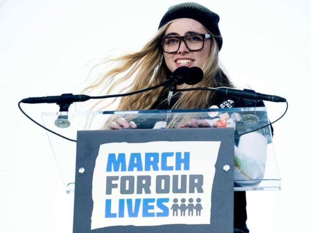 PHOTO: Delaney Tarr, a survivor of the mass shooting at Marjory Stoneman Douglas High School in Parkland, Fla., speaks during the March for Our Lives rally in support of gun control in Washington, March 24, 2018.