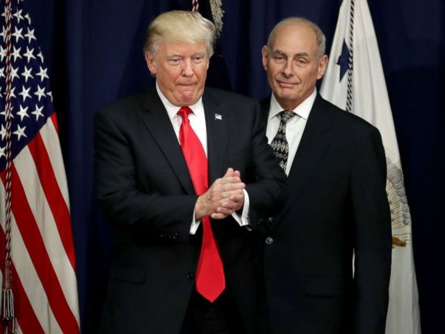 PHOTO: President Donald Trump is joined by Homeland Security Secretary John Kelly (R) during a visit to the Department of Homeland Security, Jan. 25, 2017 in Washington, D.C.