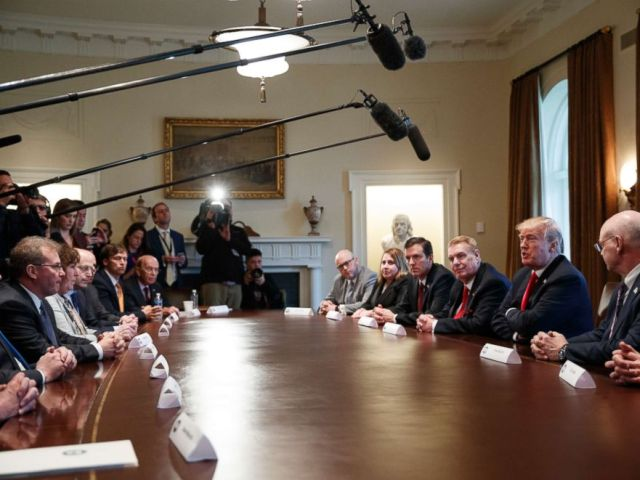 PHOTO: President Donald Trump speaks during a meeting with steel and aluminum executives in the Cabinet Room of the White House, March 1, 2018, in Washington.
