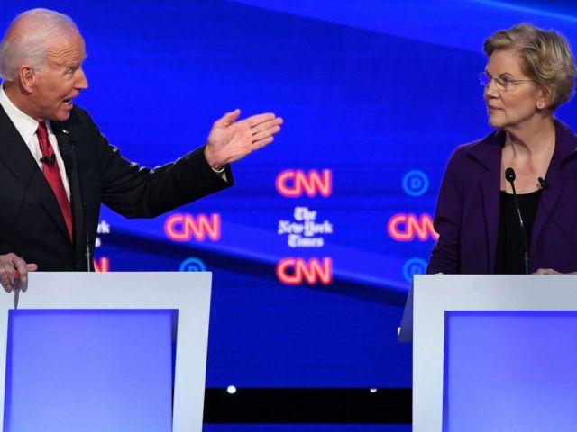 PHOTO: Democratic presidential hopefuls Joe Biden gestures at Elizabeth Warren during the fourth Democratic primary debate at Otterbein University in Westerville, Ohio, Oct. 15, 2019.