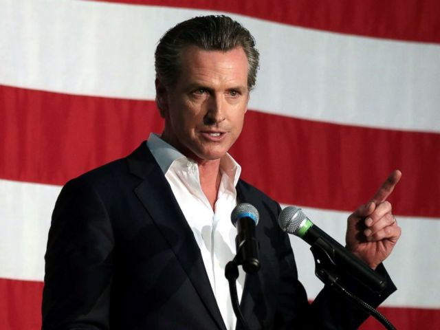 PHOTO: California gubernatorial candidate, Lieutenant Governor Gavin Newsom speaks at a campaign rally in Burbank, Calif., May 30, 2018.