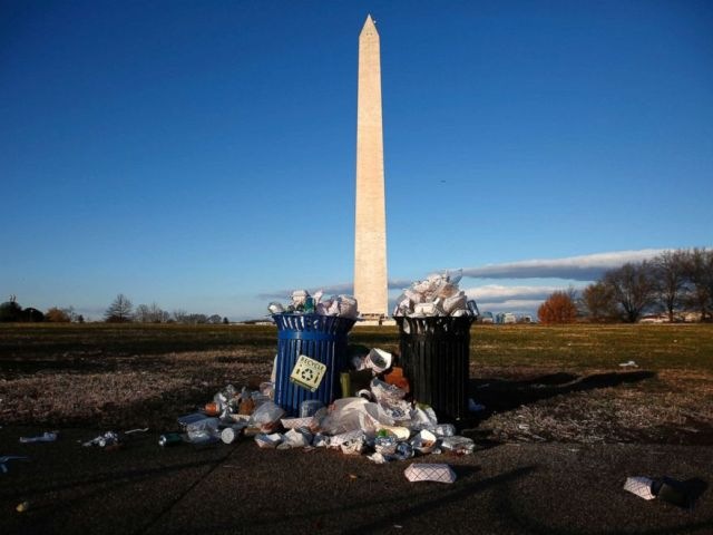 PHOTO: Trash begins to accumulate along the National Mall near the Washington Monument due to a partial shutdown of the federal government, Dec. 24, 2018, in Washington, DC.