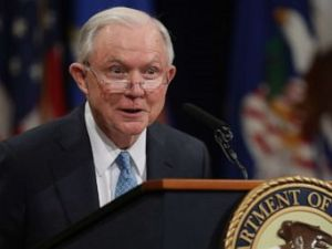 PHOTO: Former U.S. Attorney General Jeff Sessions delivers remarks during a farewell ceremony for Deputy Attorney General Rod Rosenstein at the Robert F. Kennedy Main Justice Building, May 09, 2019, in Washington.