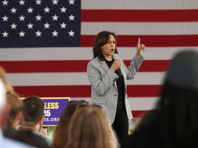 PHOTO: Democratic presidential hopeful U.S. Sen Kamala Harris speaks during a campaign rally, Aug. 8, 2019, in Sioux City, Iowa.