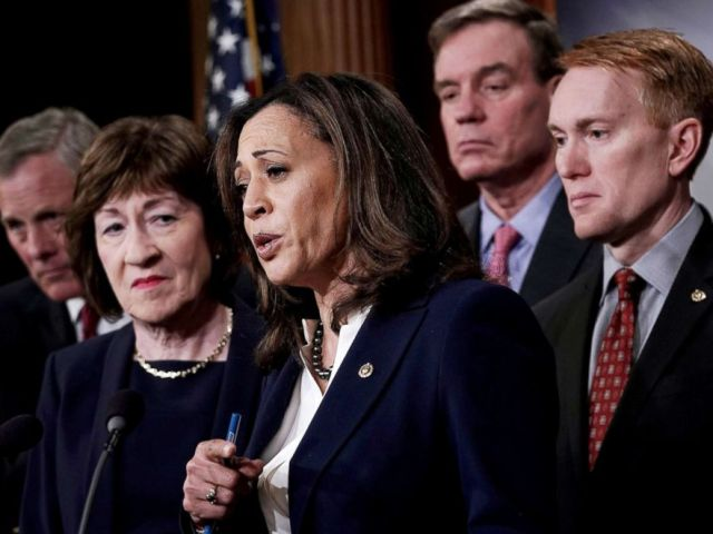 PHOTO: Sen. Kamala Harris speaks as (L-R) Chairman of Senate Intelligence Committee Sen. Richard Burr, Sen. Susan Collins, committee Vice Chairman Sen. Mark Warner and Sen. James Lankford listen during a news conference at the Capitol on March 20, 2018.