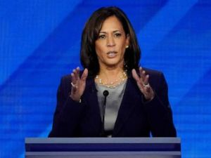 PHOTO: Senator Kamala Harris speaks during the 2020 Democratic presidential debate in Houston, Texas, Sept. 12, 2019.