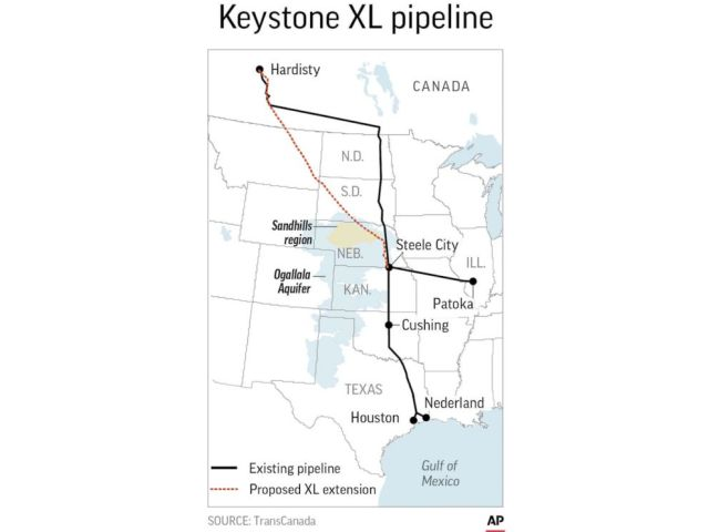 PHOTO: An AP map shows the proposed Keystone XL pipeline extension route.