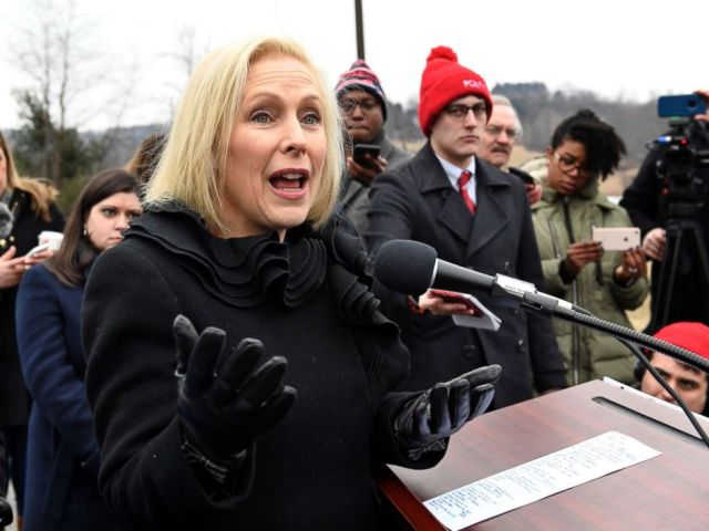 PHOTO: Sen. Kirsten Gillibrand speaks with reporters during a news conference, Jan. 16, 2019, in Brunswick, N.Y.