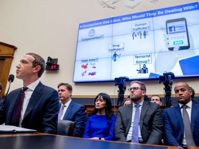 PHOTO: A graphic is displayed on a monitor behind Facebook CEO Mark Zuckerberg as he testifies before a House Financial Services Committee hearing on Capitol Hill in Washington, Oct. 23, 2019.
