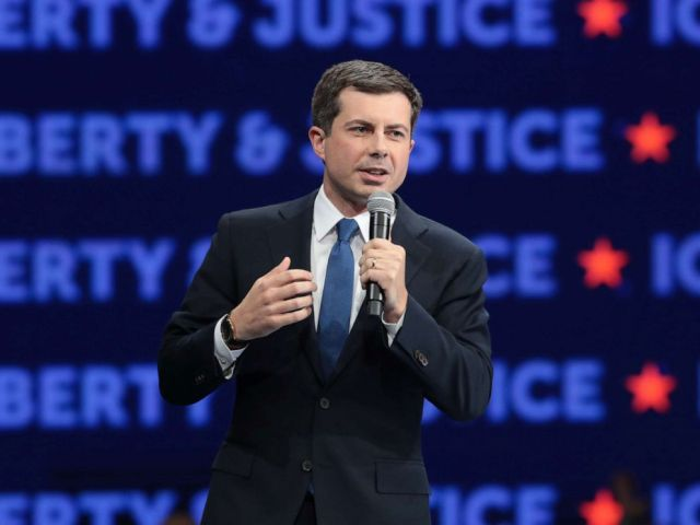 PHOTO: Democratic presidential candidate South Bend, Indiana Mayor Pete Buttigieg speaks at the Liberty and Justice Celebration at the Wells Fargo Arena on November 01, 2019 in Des Moines, Iowa.