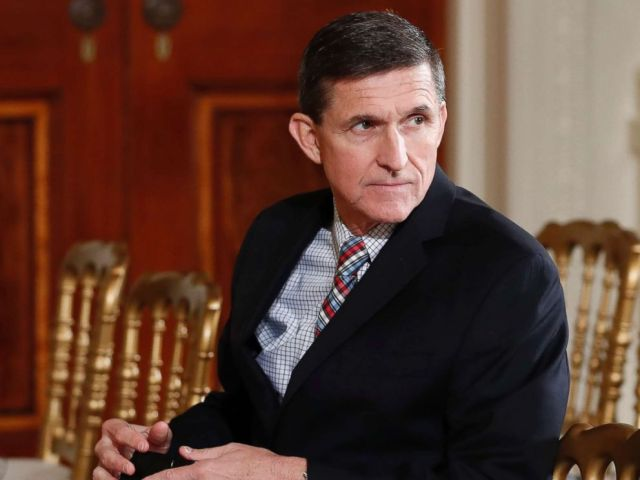 PHOTO: Former National Security Adviser Michael Flynn sits in the East Room of the White House, Feb. 10, 2017.