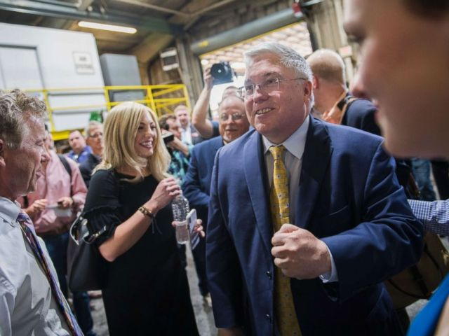 PHOTO: Patrick Morrisey, right, who is running for the Republican nomination for Senate in West Virginia, attends a campaign event with Sen. Rand Paul, R-Ky., left, at Richwood Industries in Huntington, W.Va., May 3, 2018.