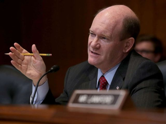 PHOTO: Senator Chris Coons, ranking member of the Senate Appropriations Committees Financial Services and General Government Subcommittee during a hearing, May 22, 2018 in Washington, DC.