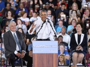 PHOTO: Former President Barack Obama speaks during a get-out-the-vote rally for Nevada Democratic candidates, Oct. 22, 2018, in Las Vegas.