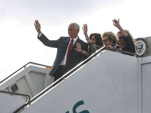 PHOTO: Vice-President Mike Pence, with his wife Karen and mother Nancy Pence Fritsch, arrives in Dublin, Ireland September 3, 2019.