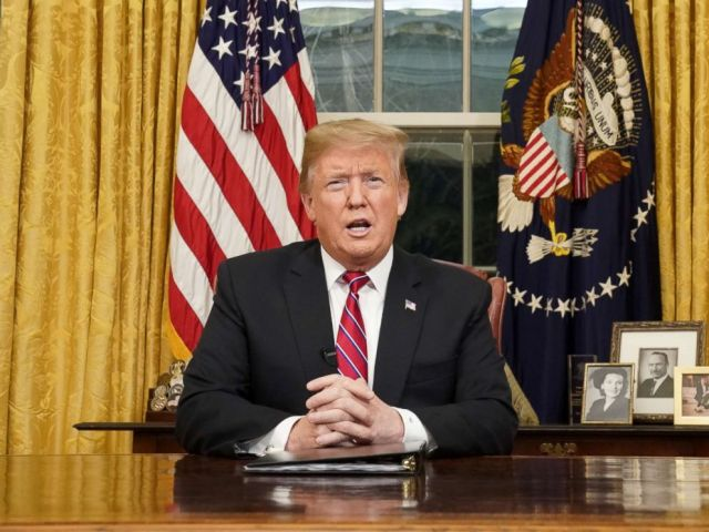 PHOTO: President Donald Trump delivers a televised address to the nation from his desk in the Oval Office about immigration and the southern U.S. border at the White House in Washington, Jan. 8, 2019.