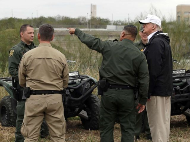 PHOTO: President Donald Trump tours the U.S. border with Mexico at the Rio Grande on the southern border, Jan. 10, 2019, in McAllen, Texas.