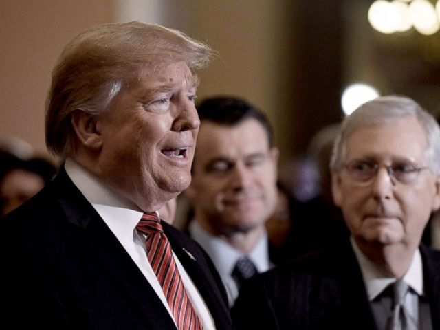 PHOTO: President Donald Trump talks to the press, as Senate Majority Leader Mitch McConnell looks on, after the Republican luncheon at the U.S. Capitol, Jan. 9, 2019, in Washington, DC.