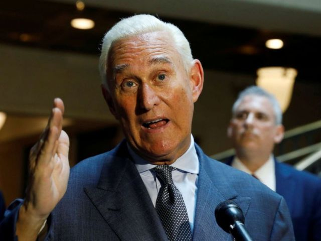 PHOTO: U.S. political consultant Roger Stone, a longtime ally of President Donald Trump, speaks to reporters after appearing before a closed House Intelligence Committee hearing at the U.S. Capitol in Washington, Sept. 26, 2017.