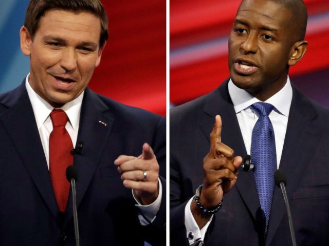 PHOTO: A combination photo of Florida Republican gubernatorial candidate Ron DeSantis (L), and Democratic gubernatorial candidate Andrew Gillum during a CNN debate in Tampa, Fla., Oct. 21, 2018.