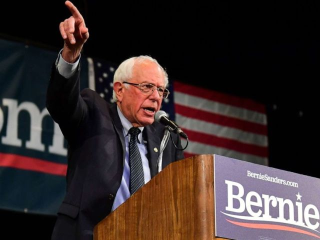 PHOTO: Democratic presidential hopeful and Vermont US Senator Bernie Sanders speaks on stage during a Town Hall event at the Aratani Theater in Los Angeles, California on July 25, 2019.