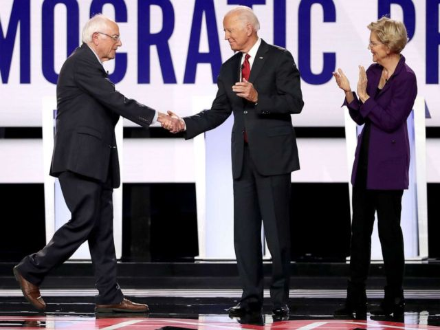 PHOTO: Sen. Bernie Sanders, former Vice President Joe Biden, and Sen. Elizabeth Warren enter the stage before the Democratic Presidential Debate at Otterbein University, Oct. 15, 2019, in Westerville, Ohio.