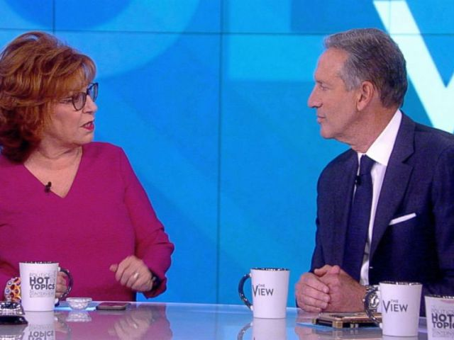PHOTO: Host Joy Behar talks with Howard Schultz, former CEO of Starbucks during his appearance on ABCs The View, Jan. 29, 2019.