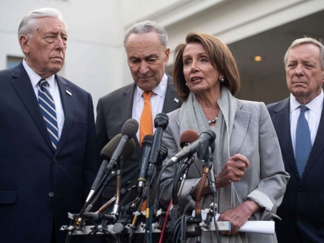 PHOTO: Speaker of the House Nancy Pelosi (2nd R), Senate Democratic Leader Chuck Schumer (2nd L), House Democratic Whip Steny Hoyer (L) and Senate Democratic Whip Dick Durbin (R) speak to the media at the White House, Jan. 9, 2019.