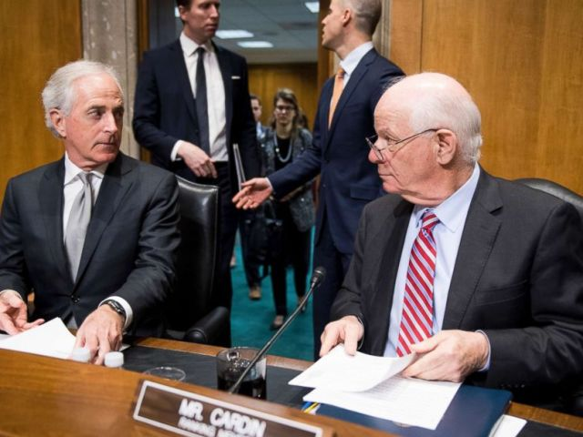 PHOTO: Chairman Bob Corker, left, and ranking member Ben Cardin talk before the start of the Senate Foreign Relations Committee hearing on The Administrations South Asia Strategy on Afghanistan, Feb. 6, 2018.