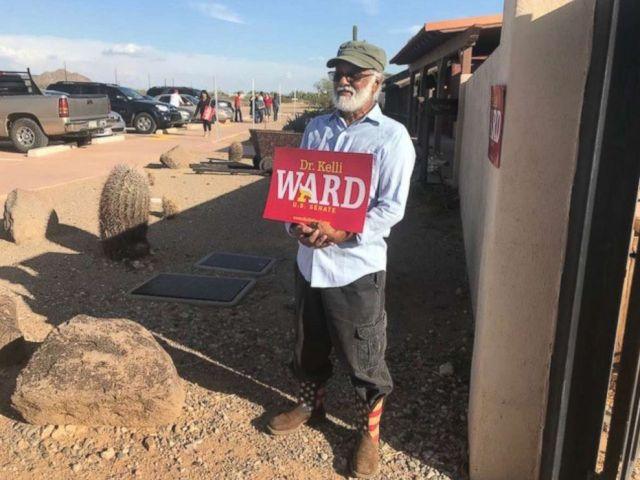 PHOTO: Sherman Patibanda, pictured at a campaign event for Senate-hopeful Kelli Ward in Phoenix, Arizona, on Aug. 24, said that he believes Sen. John McCain was a very brave man.