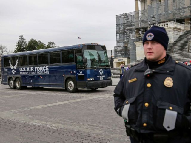 PHOTO: An Air Force bus parked on the plaza of the Capitol for the congressional delegation that had planned a trip to Afghanistan, Jan. 17, 2019, in Washington.
