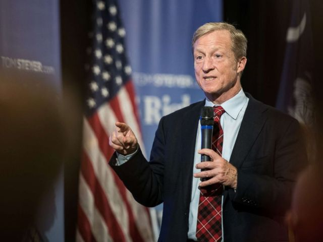 PHOTO: Billionaire Tom Steyer hosts a town hall meeting, Dec. 4, 2018, in Charleston, S.C. Steyer, founder of NextGen America and Need to Impeach, is testing the waters for a 2020 presidential run.
