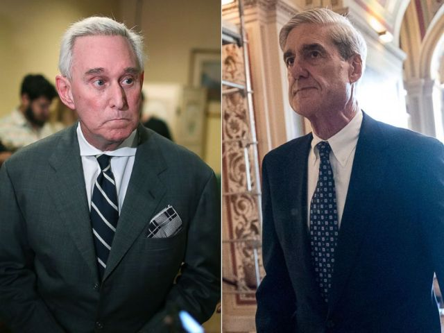 PHOTO: Roger Stone speaks during a visit to the Womens Republican Club of Miami, May 22, 2017, in Coral Gables, Fla. Robert Mueller departs after a closed-door meeting with members of the Senate Judiciary Committee at the Capitol, June 21, 2017.