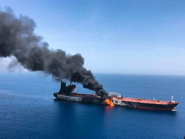 PHOTO: An oil tanker is on fire in the sea of Oman, June 13, 2019.