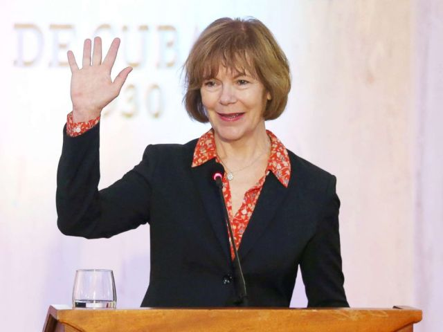 PHOTO: In this file photo, Minnesota Lt. Governor Tina Smith waves to journalists at the end of a news conference in Havana, June 22, 2017.