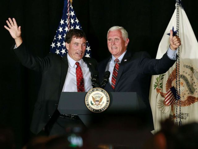 PHOTO: Troy Balderson appears at a rally with Vice President Mike Pence, right, in Newark, Ohio, July 30, 2018.
