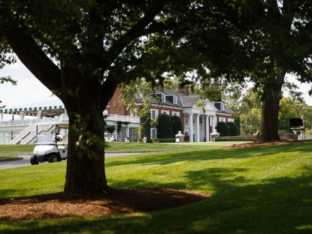 PHOTO: The clubhouse of Trump National Golf Club is seen from the media van, Aug. 9, 2018, in Bedminster, N.J., before a President Donald Trump meets with state leaders about prison reform.