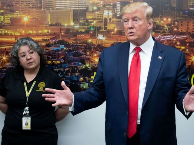 PHOTO: President Donald Trump addresses the press during a visit to El Paso Regional Communications Center in El Paso, Texas, August 7, 2019, following last weekends mass shootings.