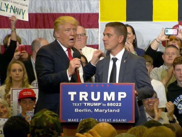 PHOTO: Presidential candidate Donald Trump invites Kevin Chmielewski on stage during a campaign rally in Berlin, Md., April 2017.