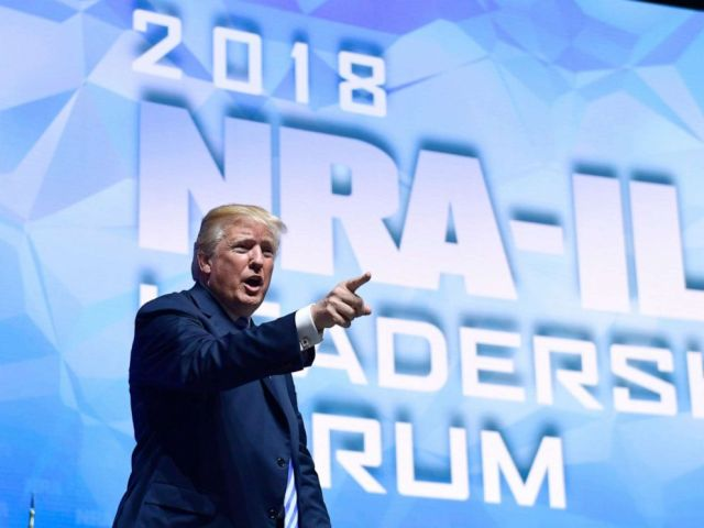 PHOTO: President Donald Trump speaks at the National Rifle Association annual convention in Dallas, May 4, 2018.