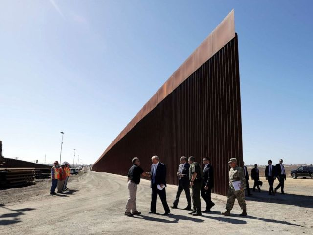 PHOTO: President Donald Trump tours a section of the southern border wall, Sept. 18, 2019, in Otay Mesa, Calif.