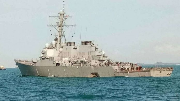 The USS John S. McCain after it collided with a commercial vessel east of Singapore on Aug. 20, 2017.