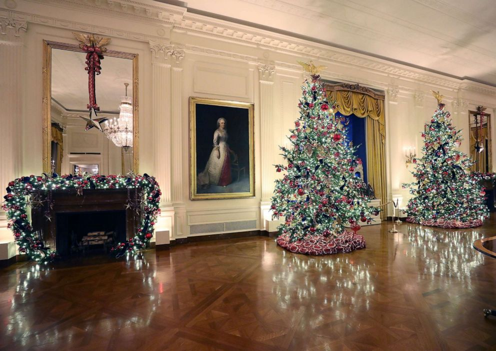 After Criticism Melania Trump Unveils Patriotic Themed White House Christmas Decorations Abc News