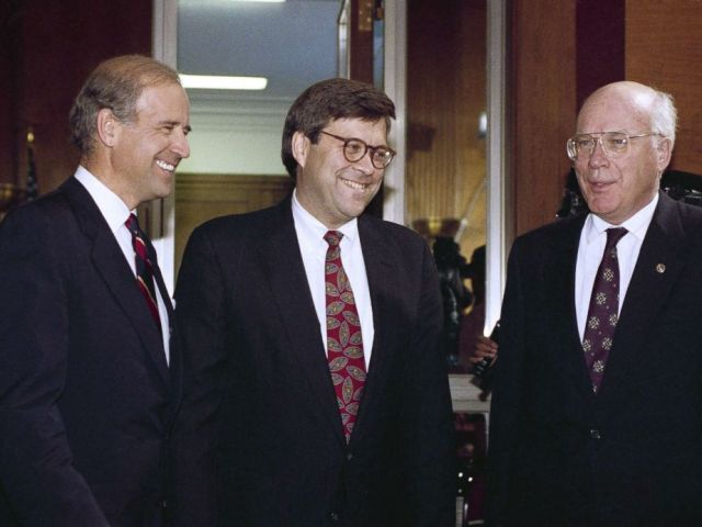 PHOTO: Attorney General nominee William Barr is flanked by Sen. Joseph Biden and Sen. Patrick Leahy prior to Barr?s nomination hearing before the committee on Capitol Hill in Washington, Nov. 12, 1991.