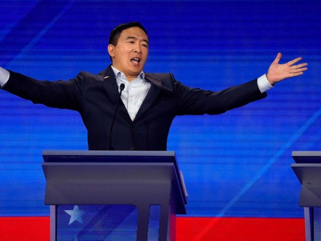 PHOTO: Entrepreneur Andrew Yang reacts during the 2020 Democratic presidential debate in Houston, Sept. 12, 2019.