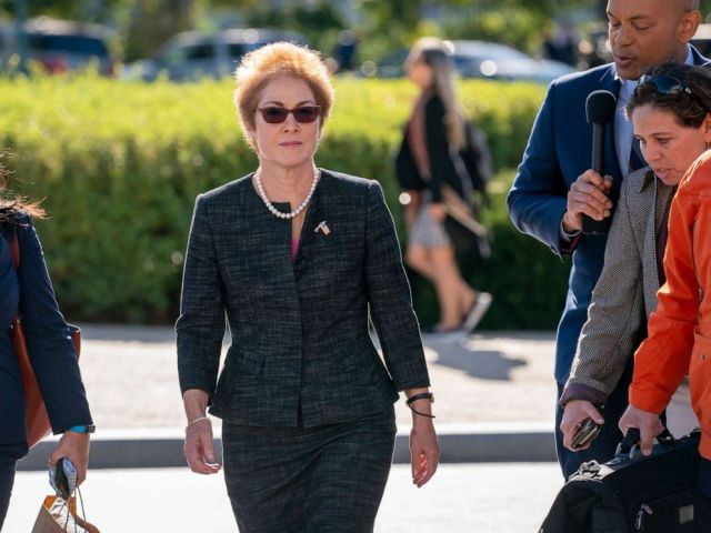 PHOTO: Former U.S. ambassador to Ukraine Marie Yovanovitch, center, arrives on Capitol Hill, Friday, Oct. 11, 2019, in Washington, to testify as part of the House impeachment inquiry into President Donald Trump.