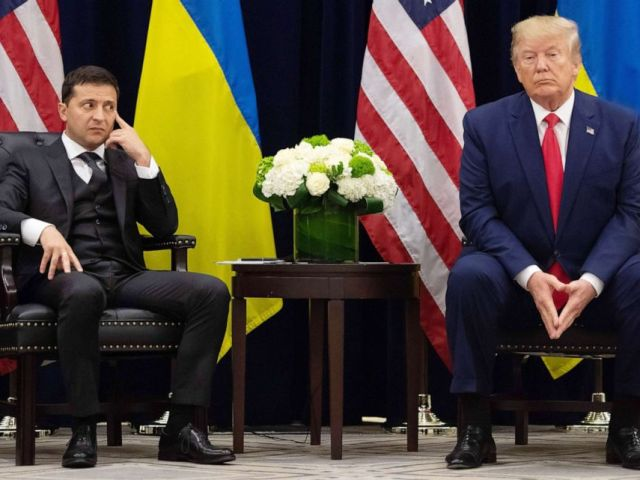 PHOTO: President Donald Trump and Ukrainian President Volodymyr Zelenskiy talk to the press during a meeting in New York, on Sept. 25, 2019, on the sidelines of the United Nations General Assembly.