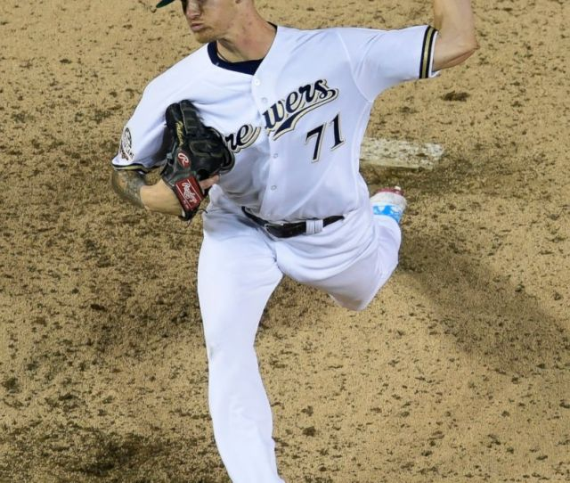Milwaukee Brewers Pitcher Josh Hader  Throws During The Eighth Inning At The Major